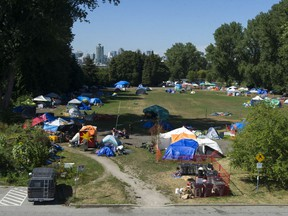 A file photo of the Strathcona Park homeless tent encampment in Vancouver.