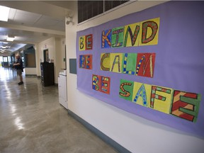 Kind words are pictured on the bulletin board in the hallway during a media tour of Hastings Elementary school in Vancouver on Wednesday, September 2, 2020.