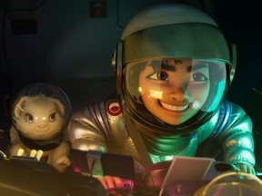 Netflix Over the Moon is an animated feature to be released Oct. 24. Directed by Glen Keane, it stars Cathy Ang as Fei Fei (with Bungee the Rabbit).