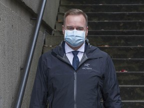 Canada Border Services Agency officer Scott Kirkland leaves B.C. Supreme Court in Vancouver on Thursday, Oct. 29, 2020 after testifying in the Meng Wanzhou extradition hearing.