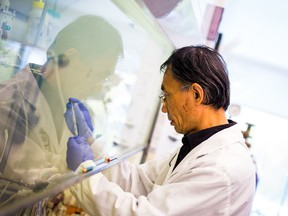 Handout photo of a scientist working in a lab at Vancouver-based Acuitas Therapeutics.