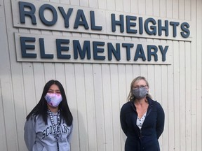 Principal Ruth Mrak (right) and Aboriginal Child and Youth Care Worker Brianna Bell at Royal Heights Elementary where many families caught in poverty need help.