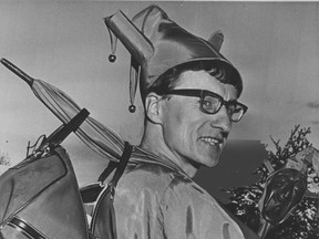 Vancouver's official Town Fool, Joachim Foikis, is seen on Nov. 15, 1968, leaving for Toronto where he was going to dispense his particular brand of advice to anyone who would listen. Foikis is the subject of the new book, Fool's Gold, by Vancouver's Jesse Donaldson.