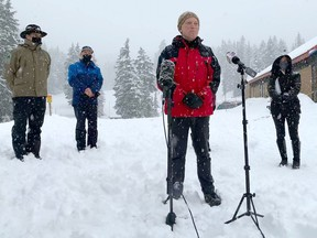 Environment Minister George Heyman makes an announcement regard winter safety at Mt. Seymour on Monday.