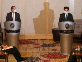 U.S. Secretary of Health and Human Services Alex Azar and Taiwan's Foreign Minister Joseph Wu hold a news conference in Taipei in August.