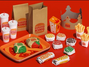Food packaging depicting Burger King's new logo is shown in this undated handout image provided by Burger King.