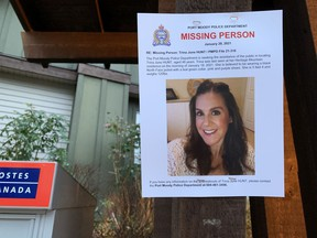 Posters for missing Port Moody woman Trina Hunt have gone up all around the Heritage Woods neighbourhood. Hunt has been missing since Monday.