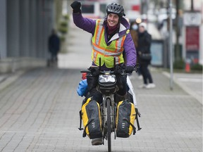 Iliajah Pidskalny finishes a cycling trip he began in Saskatoon on New Year's Day, raising awareness of the opioid crisis and harm reduction.
