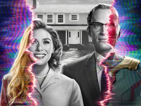 Elizabeth Olsen and Paul Bettany play two super-powered beings living idealized suburban lives in WandaVision.