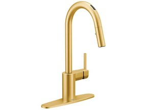 U by Moen Smart Faucet in gold finish.