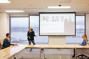 Stéphanie Roy, manager of employer relations, delivers a presentation to staff at Chartered Professional Accountants of British Columbia.