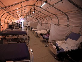 An overflow tent at an Apple Valley, Calif., hospital which was overrun by the spike in COVID cases in the state.
