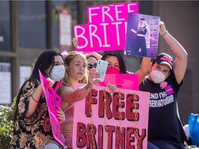 Supporters of singer Britney Spears gather outside a courthouse as a judge hears the singer's temporary conservatorship case during the outbreak of the coronavirus disease (COVID-19) in Los Angeles, California, U.S., February 11, 2021.