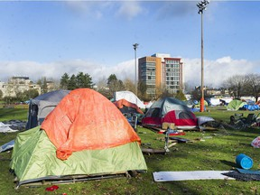 Part of the homeless encampment at Strathcona Park.