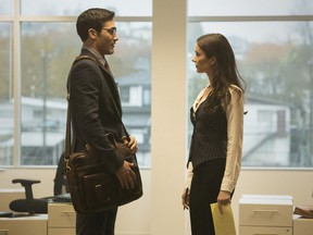 The COVID-19 shutdown meant the CW's Superman & Lois were able to film scenes in the Vancouver Sun and Province's newsroom, while reporters worked remotely from home. Tyler Hoechlin and Elizabeth Tulloch are pictured in a scene from the premier, starring as Clark Kent and Lois Lane.