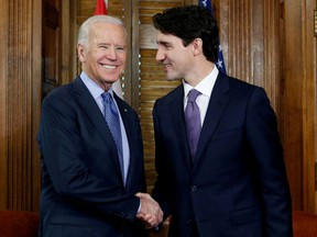 Canada's Prime Minister Justin Trudeau shakes hands with U.S. Vice President Joe Biden during a meeting in Trudeau's office on Parliament Hill in Ottawa, Ontario, Canada, December 9, 2016.