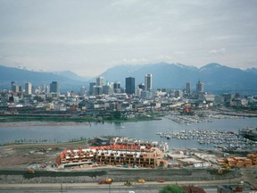 A photo from the early 1970s shows the first phase of False Creek South's redevelopment.