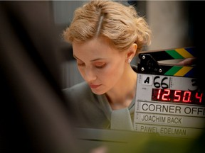 Actor Sarah Gadon is seen on the Vancouver set of the indie film Corner Office. Gadon works alongside Jon Hamm in this absurdist comedy shot during COVID-19.