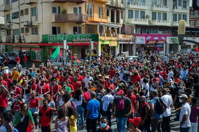 Several thousand people demonstrate in Fort-de-France, Martinique, on Feb. 27, 2021 against the government's lack of care over the after-effects of chlordecone, an insecticide accused of having poisoned the French West Indies island.