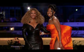 "Megan Thee Stallion and Beyonce win the Grammy for Best Rap Performance for ""Savage"" in this screen grab taken from video of the 63rd Annual Grammy Awards in Los Angeles March 14, 2021."