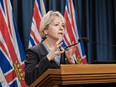 Dr. Bonnie Henry at the podium in this file photo from March 1, 2021.