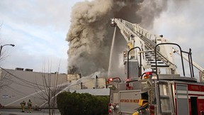 Photos of a structural fire at the Masonic Temple on Tuesday, March 30, 2021 at 1140 Lonsdale Avenue, North Vancouver.