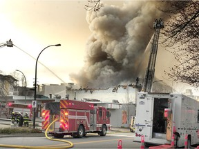 North Vancouver Fire Department battle a fire at the Duke of Connaught Lodge No. 64, also called the North Vancouver Masonic Centre, in a heritage building located at 1142 Lonsdale Ave.