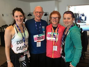 Janette Shearer (right), pictured here with her best friend Katherine Petrunia and Sun Run founders Doug and Diane Clement at the post-race brunch in 2017.