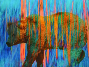 """Mark Bowen's Vanishing Species — Ocean Blue Bear (mixed media on wood panel with resin coating, 24"""" x 36"""") is part of an online auction, Essential Travel, which is open for public viewing at the Pendulum Gallery until May 28."""