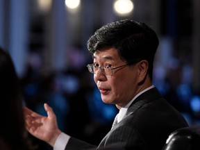 """Ambassador of China to Canada Cong Peiwu speaks as part of a panel at the Ottawa Conference on Security and Defence in Ottawa, on Wednesday, March 4, 2020. Cong says Canada acted as a """"disgraceful"""" accomplice to the United States in arresting Chinese high-tech executive Meng Wanzhou on an American extradition warrant."""