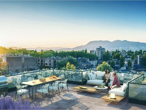 Artist rendering of a spacious rooftop deck at the Raphael development.