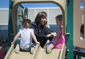 The minister for child care, Katrina Chen, at day care centre.