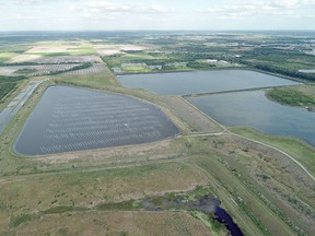 The reservoir of an old phosphate plant owned by a company called HRK Holdings in Piney Point, Florida, is the site of a breach leaking polluted water into the surrounding area.