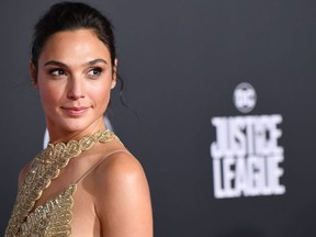 "Actress Gal Gadot arrives for the world premiere of Warner Bros. Pictures' ""Justice League,"" November 13, 2017 at the Dolby Theater in Hollywood, Calif."