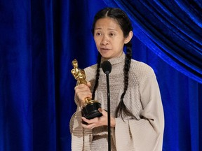 Chloe Zhao accepts the Oscar for Directing during the live ABC Telecast of The 93rd Oscars in Los Angeles, California, U.S., April 25, 2021.