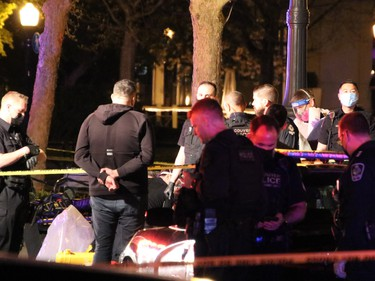 A targeted shooting on a popular waterfront Coal Harbour street left at least one person dead Saturday night.