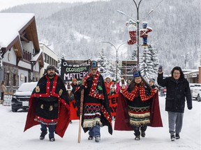 Wet'suwet'en Hereditary Chiefs, who oppose the Coastal Gaslink pipeline take part in a rally in Smithers on January 10, 2020.