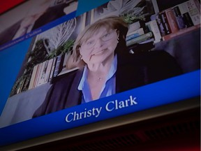 Former B.C. premier Christy Clark testifies via livestream before the Cullen Commission into money laundering in Vancouver on Tuesday.