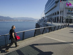 Vancouver, BC: MARCH 20, 2020 -- The usually busy Canada Place is deserted as no cruise ships are berthed in Vancouver, BC Friday, March 20, 2020. Due to the Covid-19 virus outbreak, virtually all tourism worldwide has been stopped.
