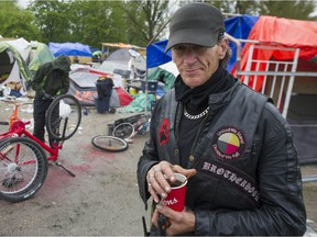 Brent Corkum, core fire-keeper and head of security at the Strathcona homeless encampment, on April 30,
