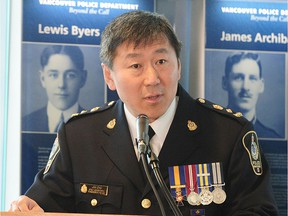 Police Chief Jim Chu attends the swearing-in ceremony for new recruits of the VPD, Class 148, in Vancouver on April 23, 2015.