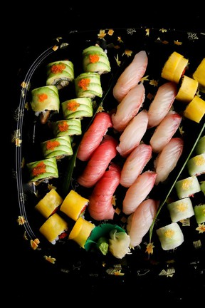Assorted rolls and nigiri available to go from Yuwa Japanese Cuisine.