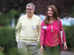 Billionaire Bill Gates, chairman and founder of Microsoft Corp., and his wife Melinda attend the Allen & Company Sun Valley Conference on July 11, 2015 in Sun Valley, Idaho.