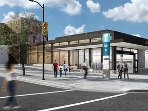 An artist's rendering of the Mt. Pleasant SkyTrain Station, part of the Broadway Subway project.