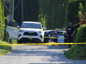 One person was shot dead in an alley beside a white Toyota SUV near Hart Street and Henderson Avenue in Coquitlam around 5 p.m. Saturday, May 22, 2021.