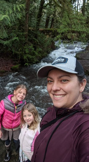Abbotsford ICU nurse Nicole Hande with her daughters Nora (left) and Evelyn.