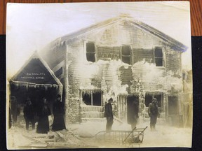 A photo of Dawson City buildings covered in ice after a winter fire in 1899. From the Phil Lind Klondike Gold Rush Collection at the University of British Columbia.