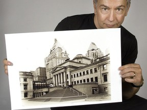 Former Vancouver Sun and Province writer Lee Bacchus in 2005 with a photo he had taken of the Vancouver Art Gallery.