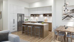 Elevate's two-tone kitchens feature oak-look laminate base cabinets and white upper cabinets, all with flat panel doors.