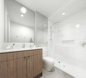 A spacious and stylish bathroom at Elevate.
